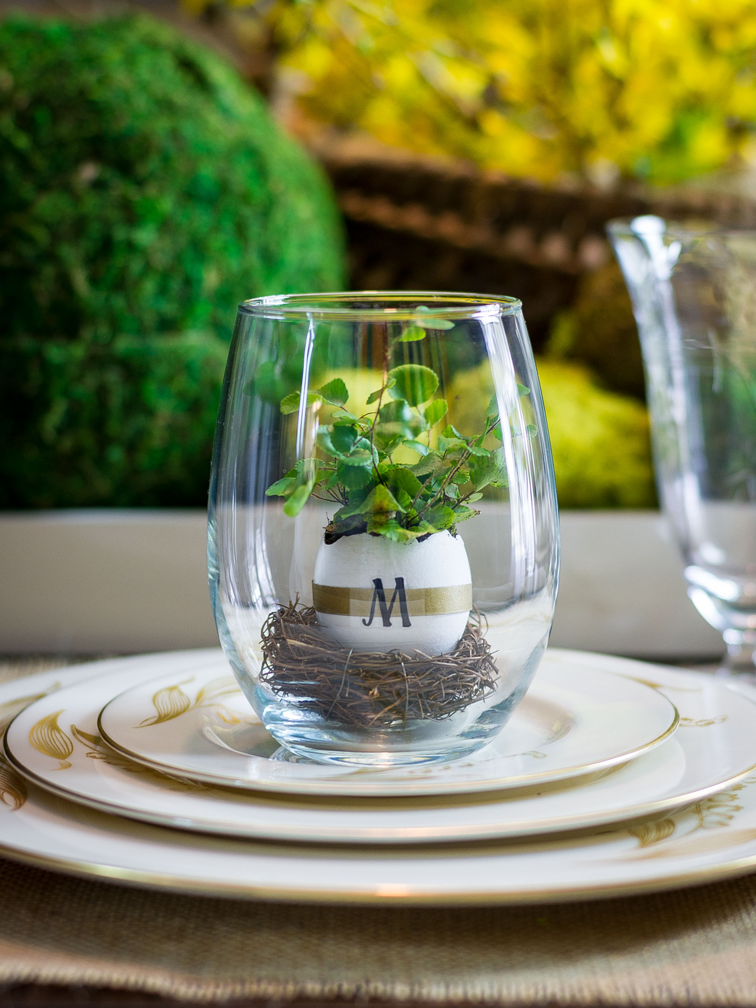 Terrarium Place Card for an Easter table by Sam Henderson of Today's Nest for HGTV.