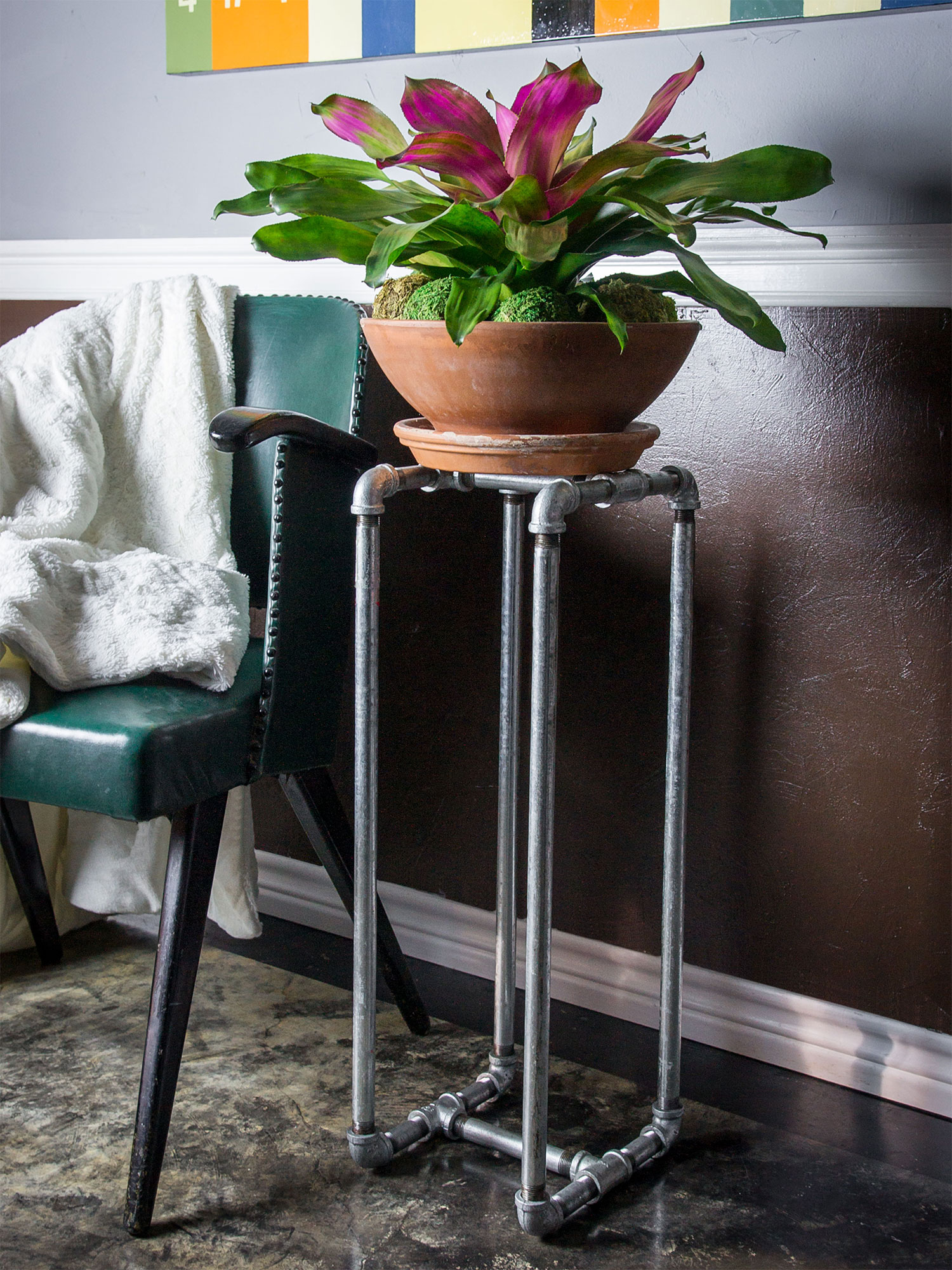 Galvanized Pipe Plant Stand by Sam Henderson of Today's Nest for HGTV.
