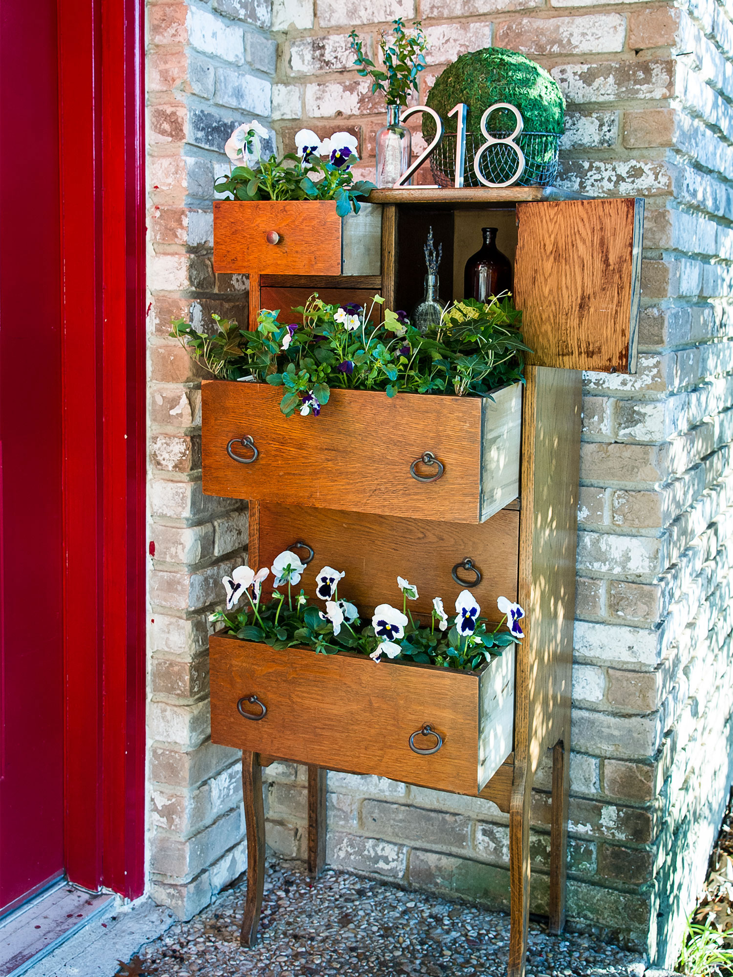 Dresser Porch Decor by Sam Henderson of Today's Nest for HGTV.