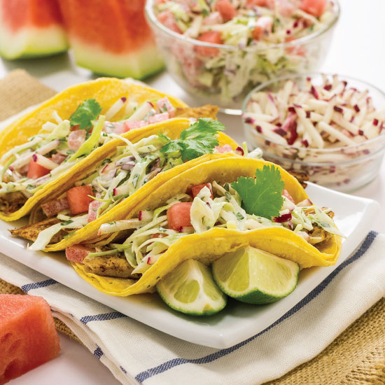 Fish Tacos with Watermelon and Radish Slaw by Sam Henderson of Today's Nest