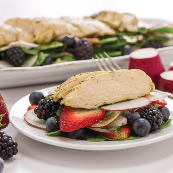 Grilled Chicken w/Baby Spinach, Berries, and Radish by Sam Henderson of Today's Nest.