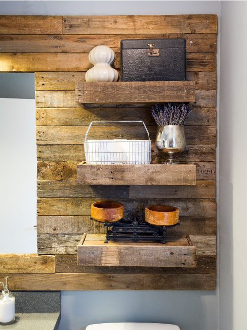 Pallet Mirror with Shelves