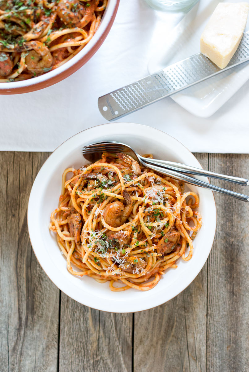 Spicy Shrimp Bucatini by Sam Henderson of Today's Nest