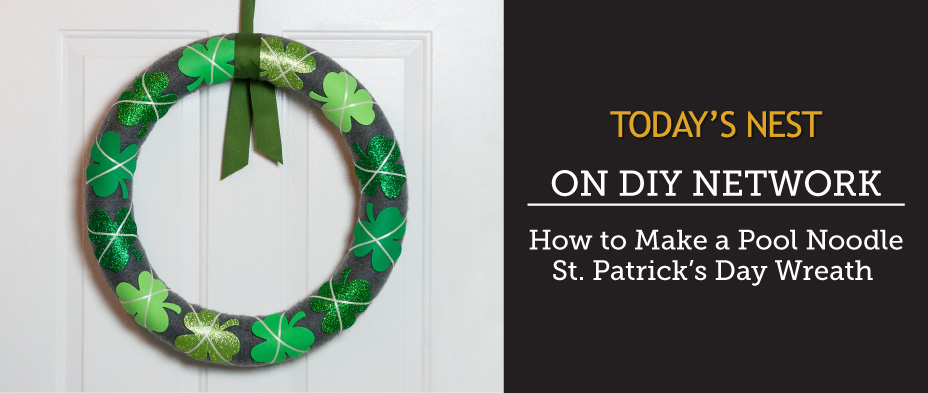 Pool Noodle St Patrick's Day Wreath by Sam Henderson of Today's Nest for DIY Network