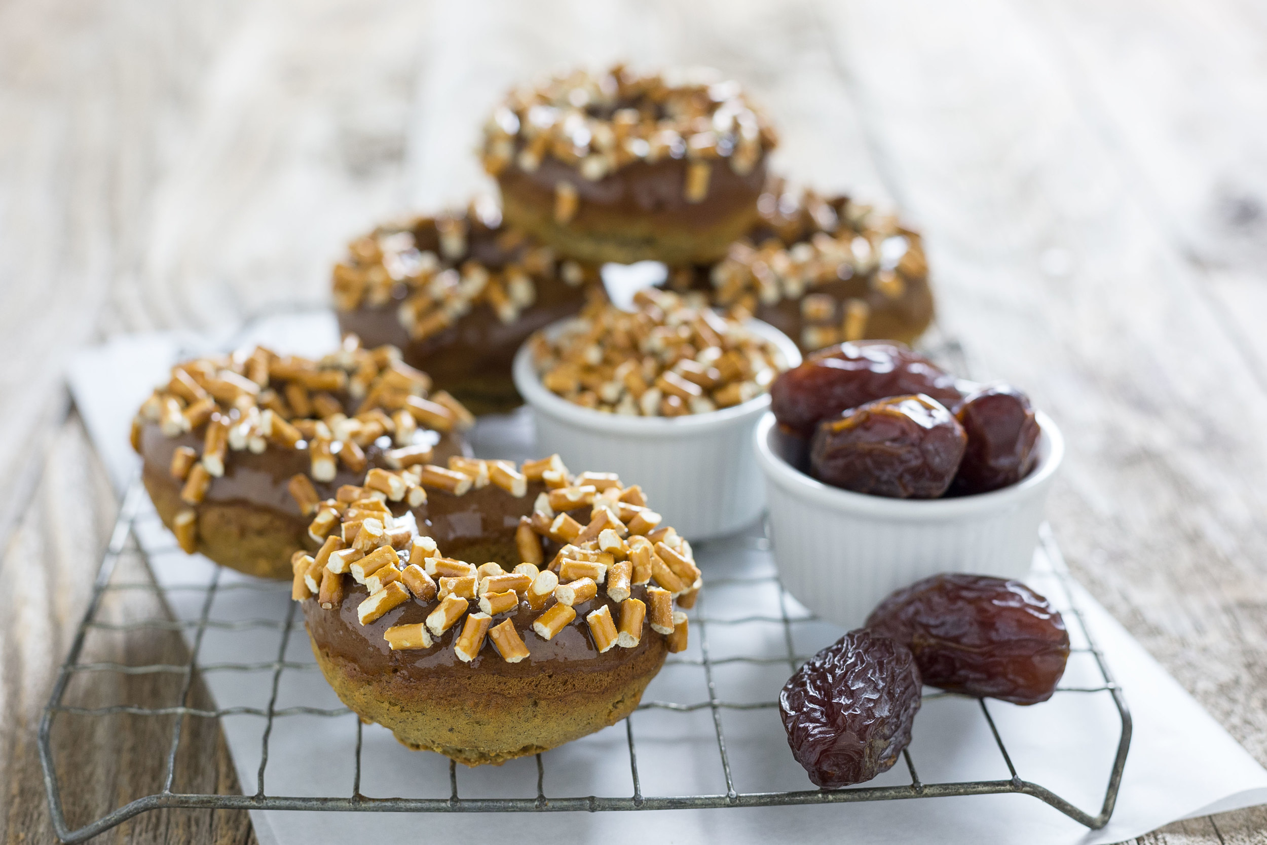 Plain Donuts with Salted Caramel Glaze and Pretzels by Sam Henderson of Today's Nest for Natural Delights Dates