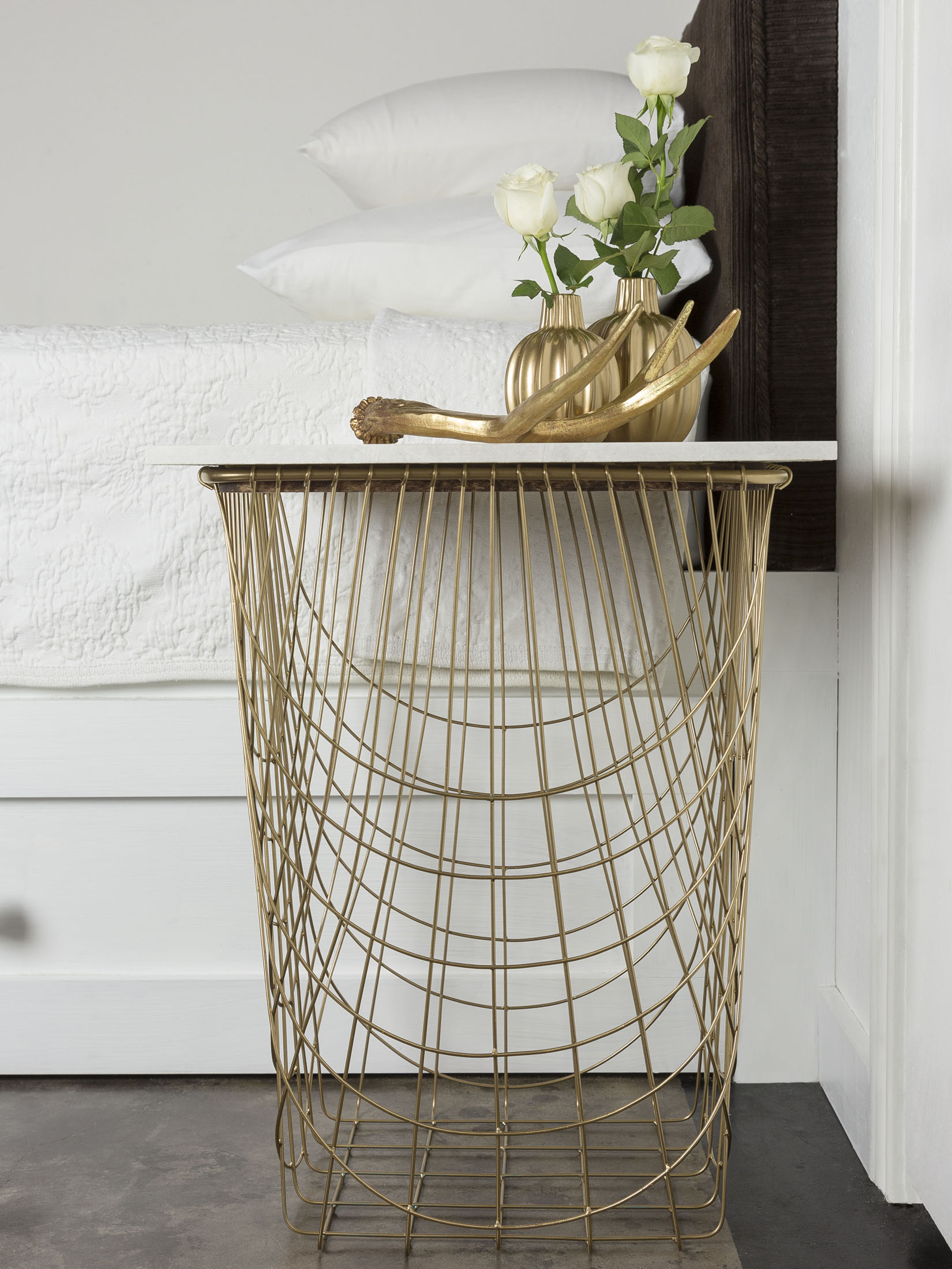 Wire Basket Bedside Table by Sam Henderson of Today's Nest for HGTV