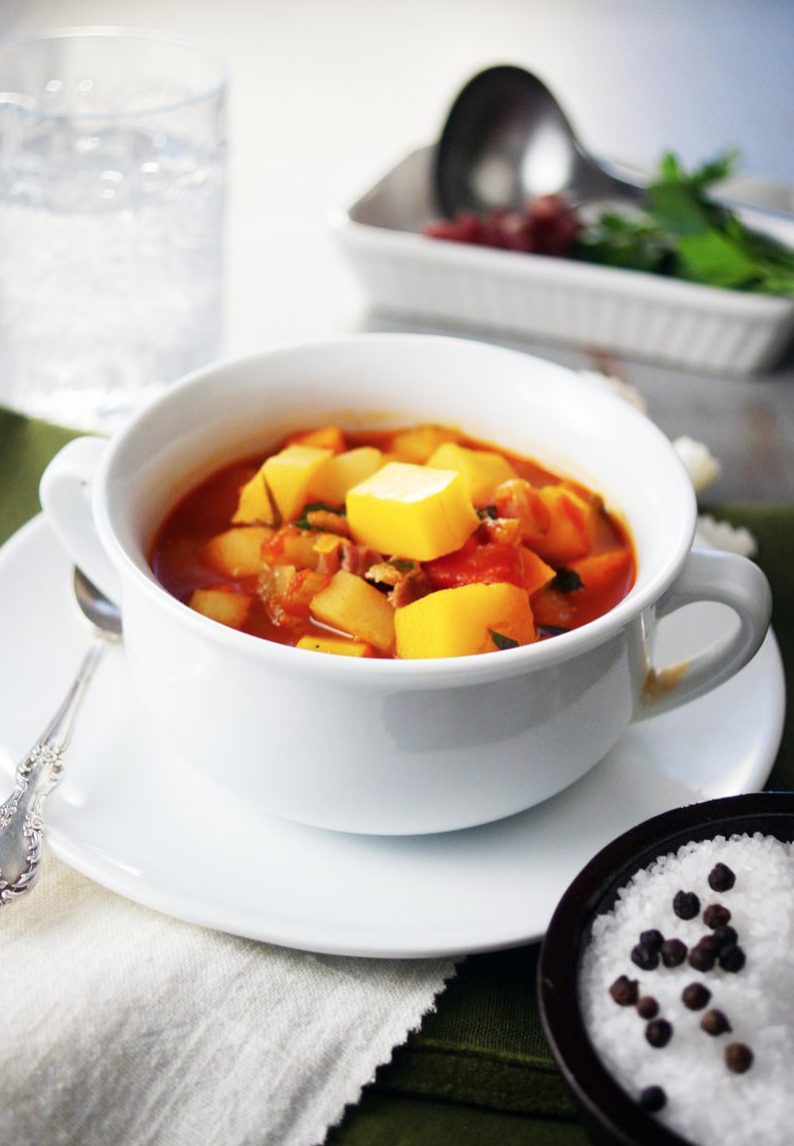 Winter Vegetable Soup with Prosciutto