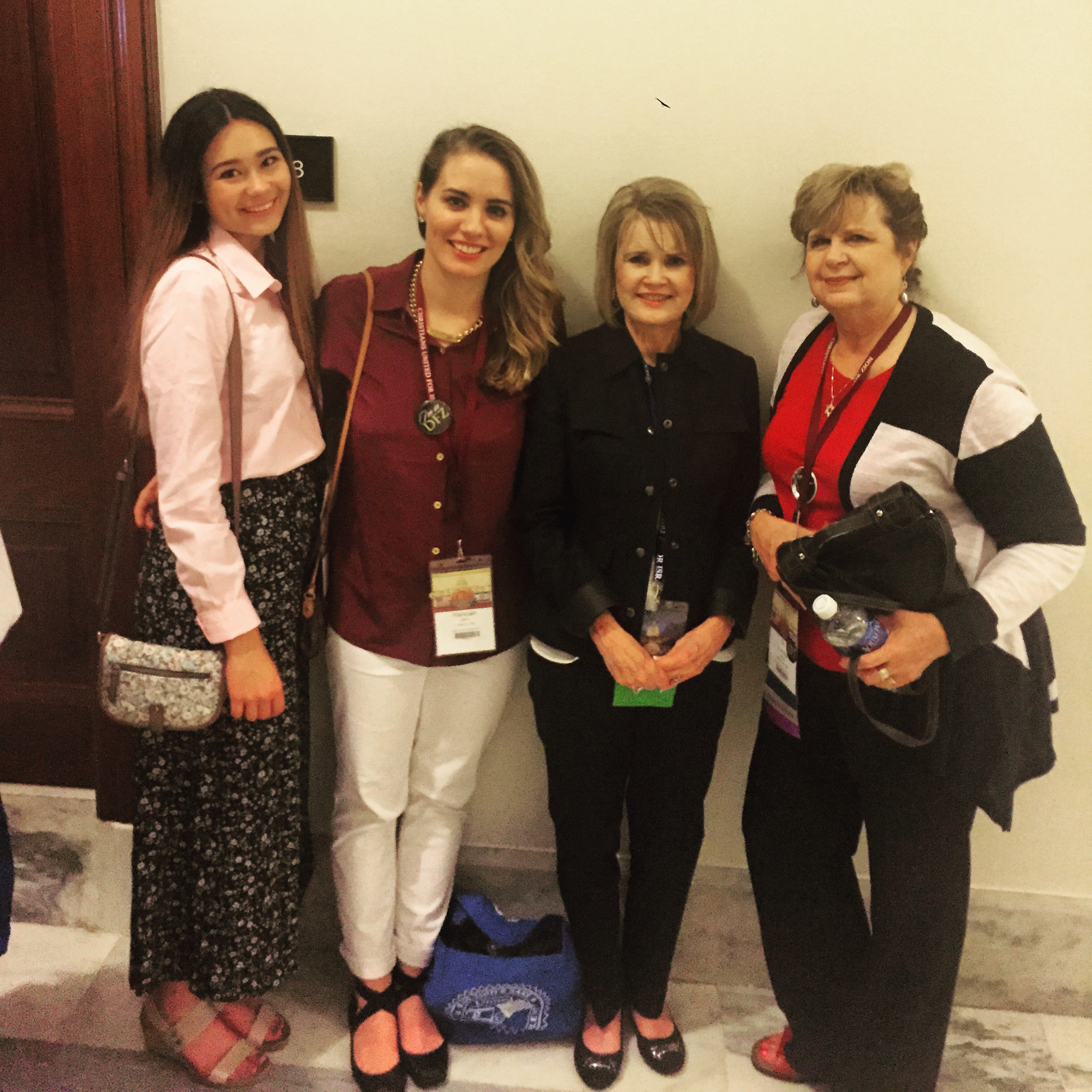 Cassidy Ollison, Me, Pastor Vicki Leuther, and Pastor Loretta Ollison on Capitol Hill Tuesday