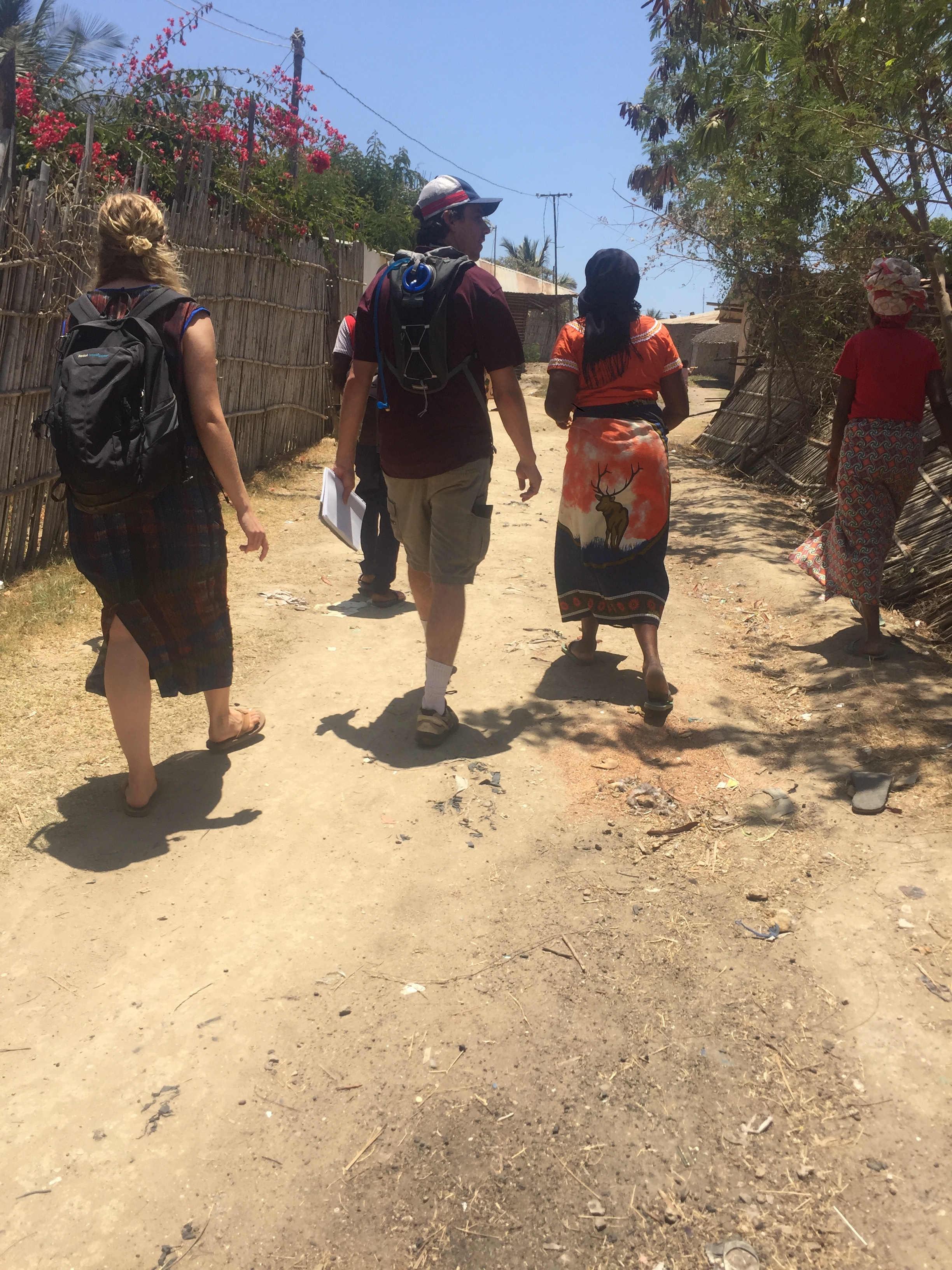 Walking in the village to the widows home.