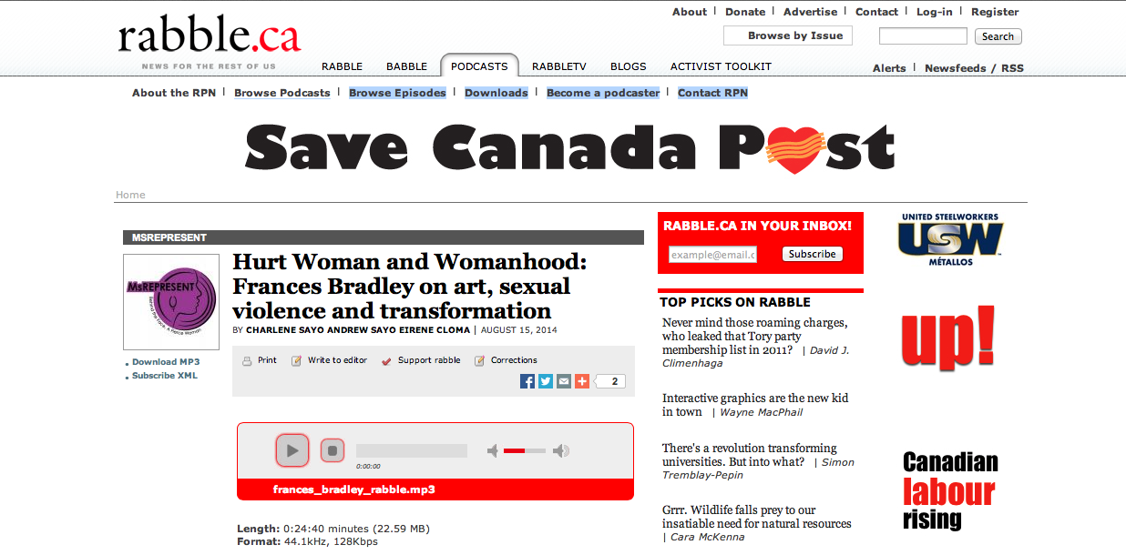 Rabble.Ca: Save Canada Post | Hurt Woman and Womanhood: Frances Bradley on art, sexual violence and transformation