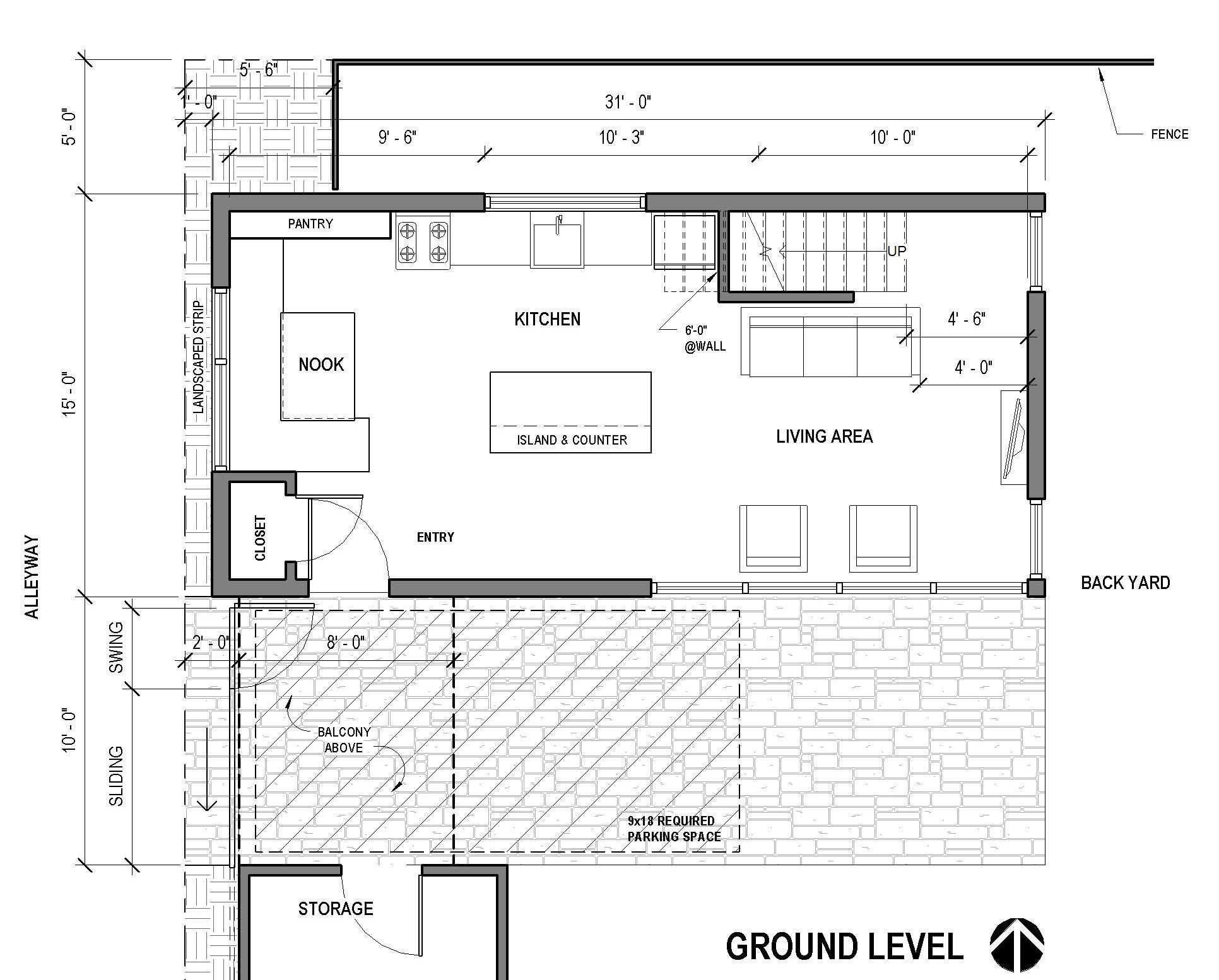 Alley Bike ADU - Portland - ground floor plan