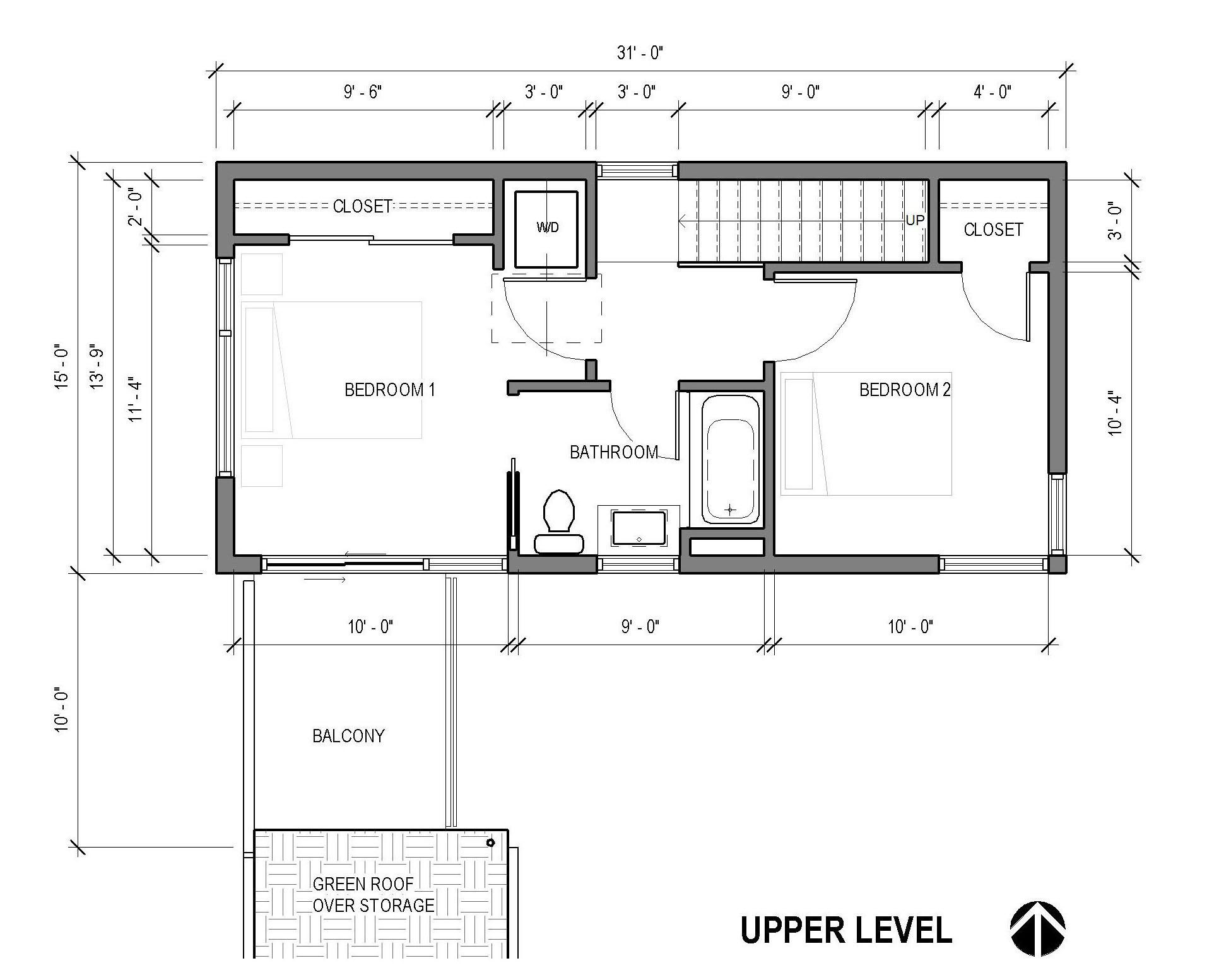 Alley Bike ADU - Portland - upper floor plan