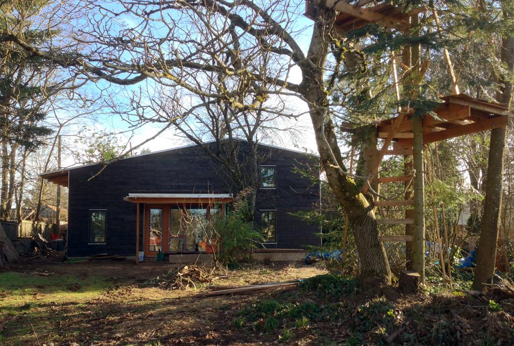 Portland Small Family House - charred cedar siding