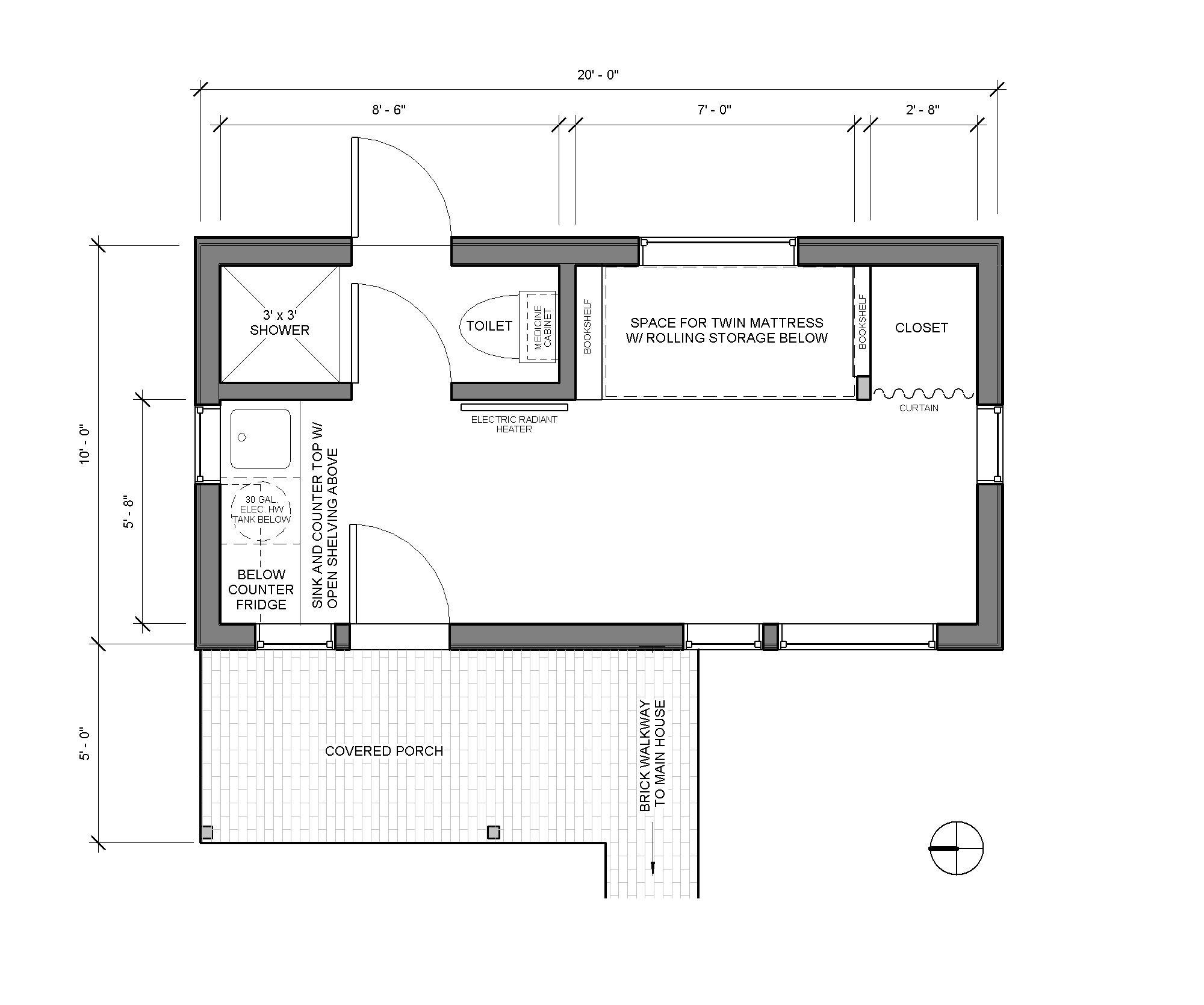 Portland Little House - Detached Bedroom - 200sq' floor plan