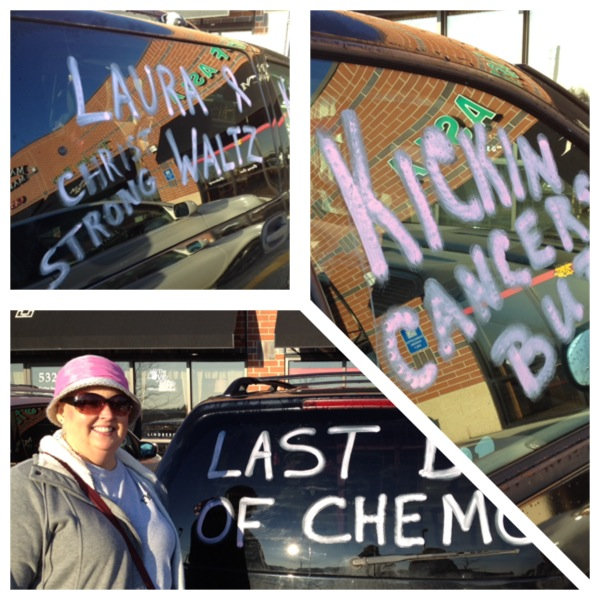 Thanks to my sisters, Joanna and Becky and my mom, Donna for the Final Chemo Party Van