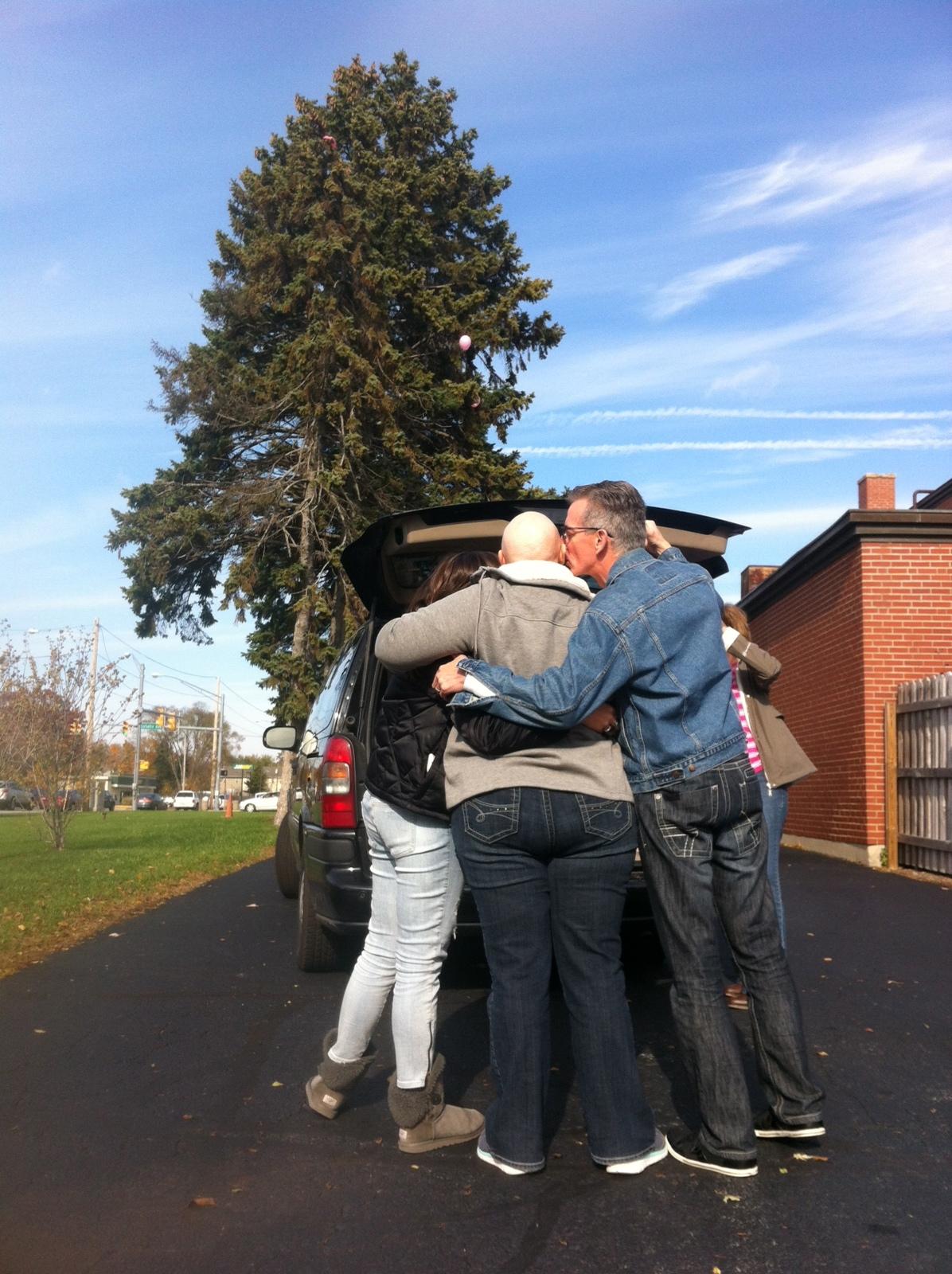 A memorable family hug