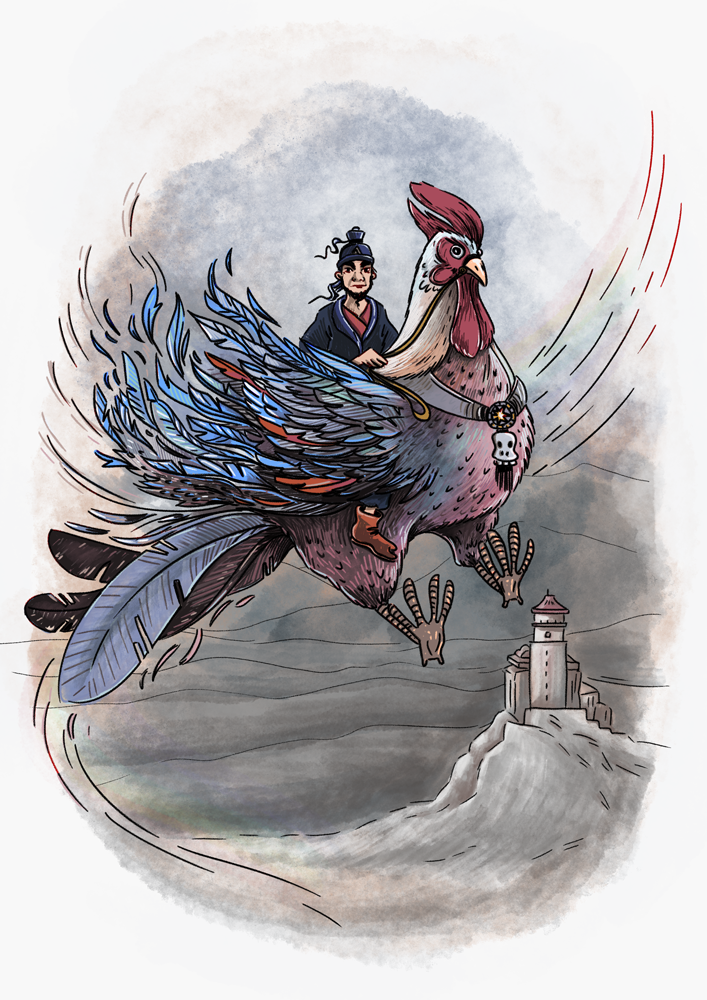 """This one is inspired by my recent trip to China. There are statuettes placed along the ridge line of official buildings of the Chinese empire. At the head there always is a man riding a bird, that was baptised """"the Chicken Rider""""."""