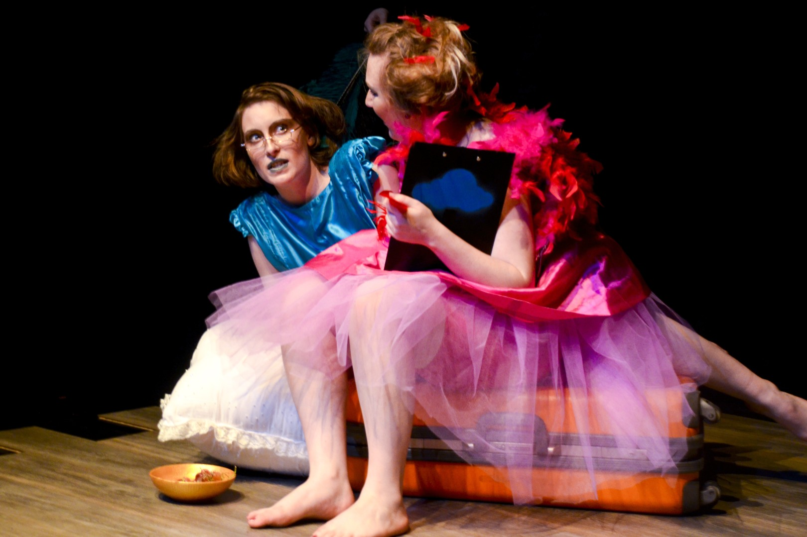 Actors Morgaine Fitzsymons and Daisy Brindley in  DEATH (on a shoestring)