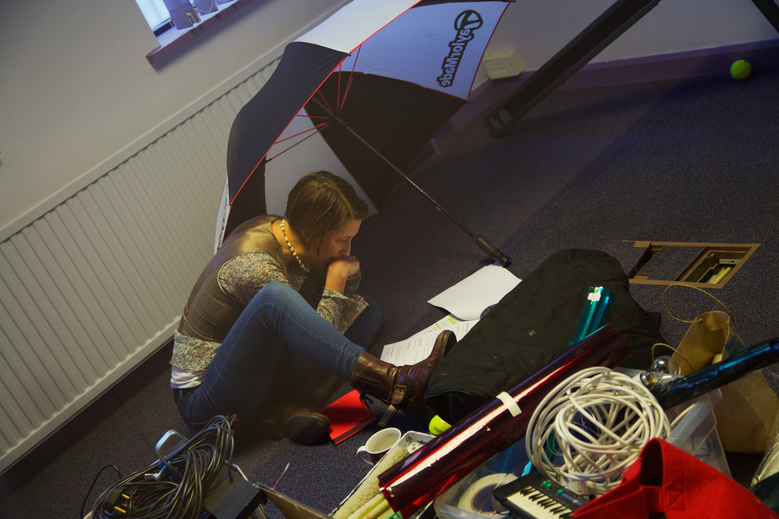 Emily takes time out to work on the script - any shelter from rehearsals...