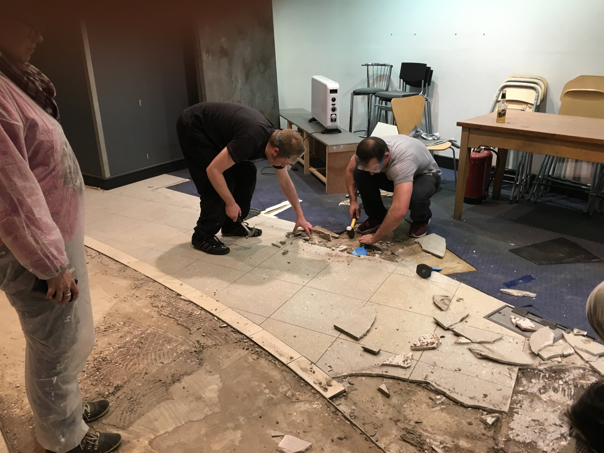 """Stephen & James help """"convert"""" the ground floor floor"""
