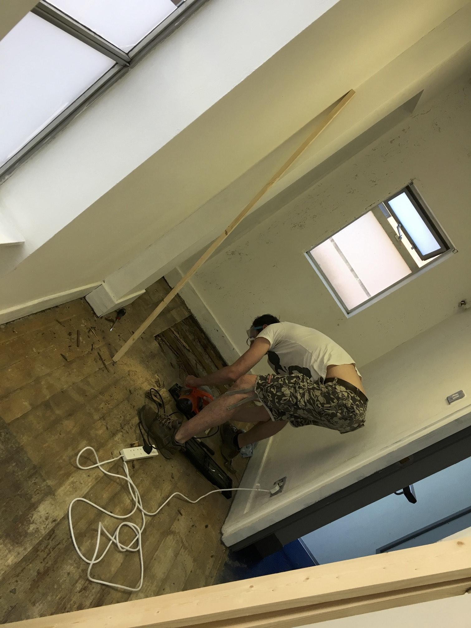 David & Richard fix rotten floor boards on the second floor