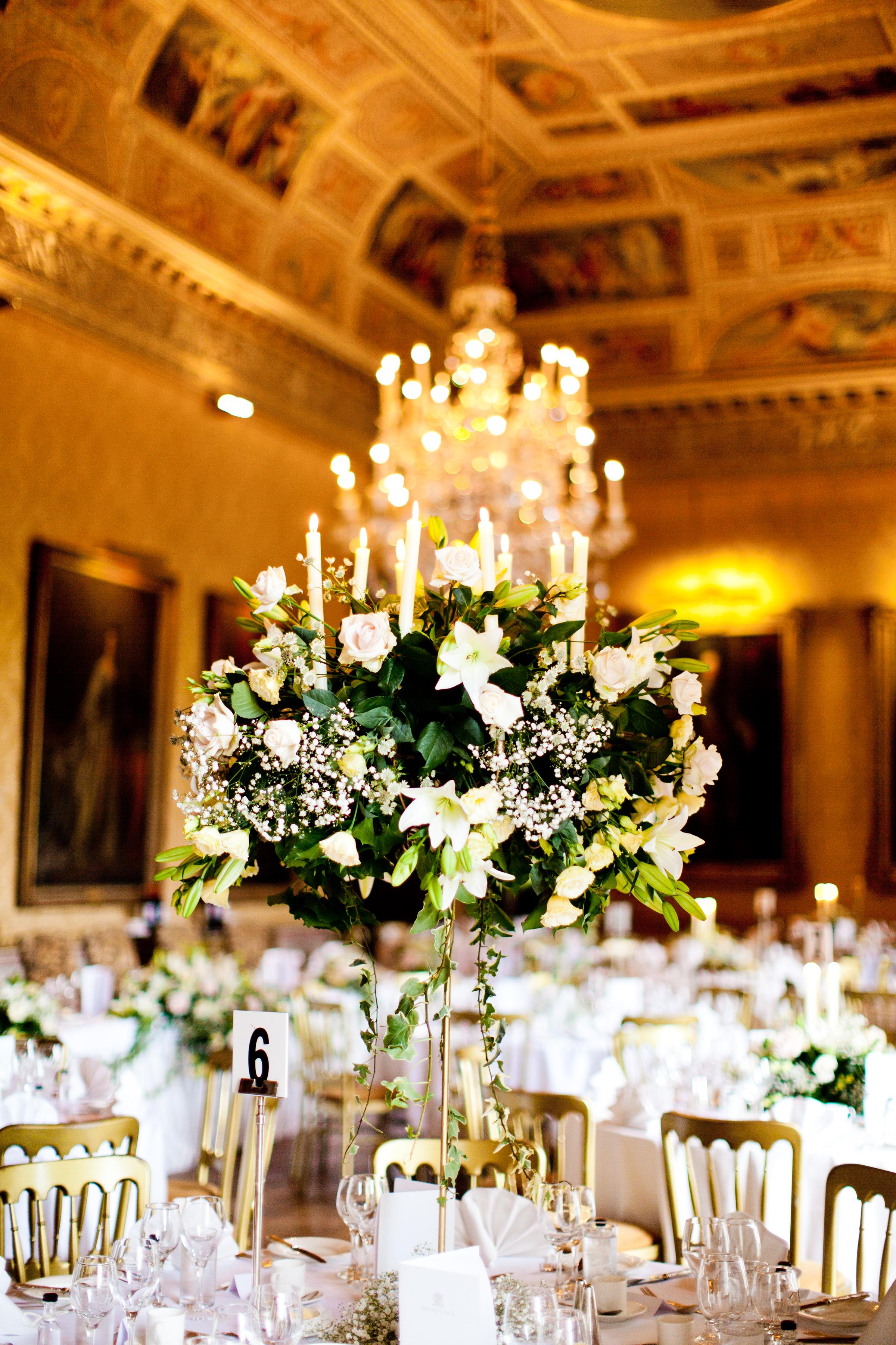 bordsdekorationer head table wedding Brocket hall