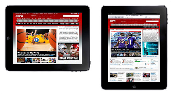 Main ESPN site viewed on an iPad