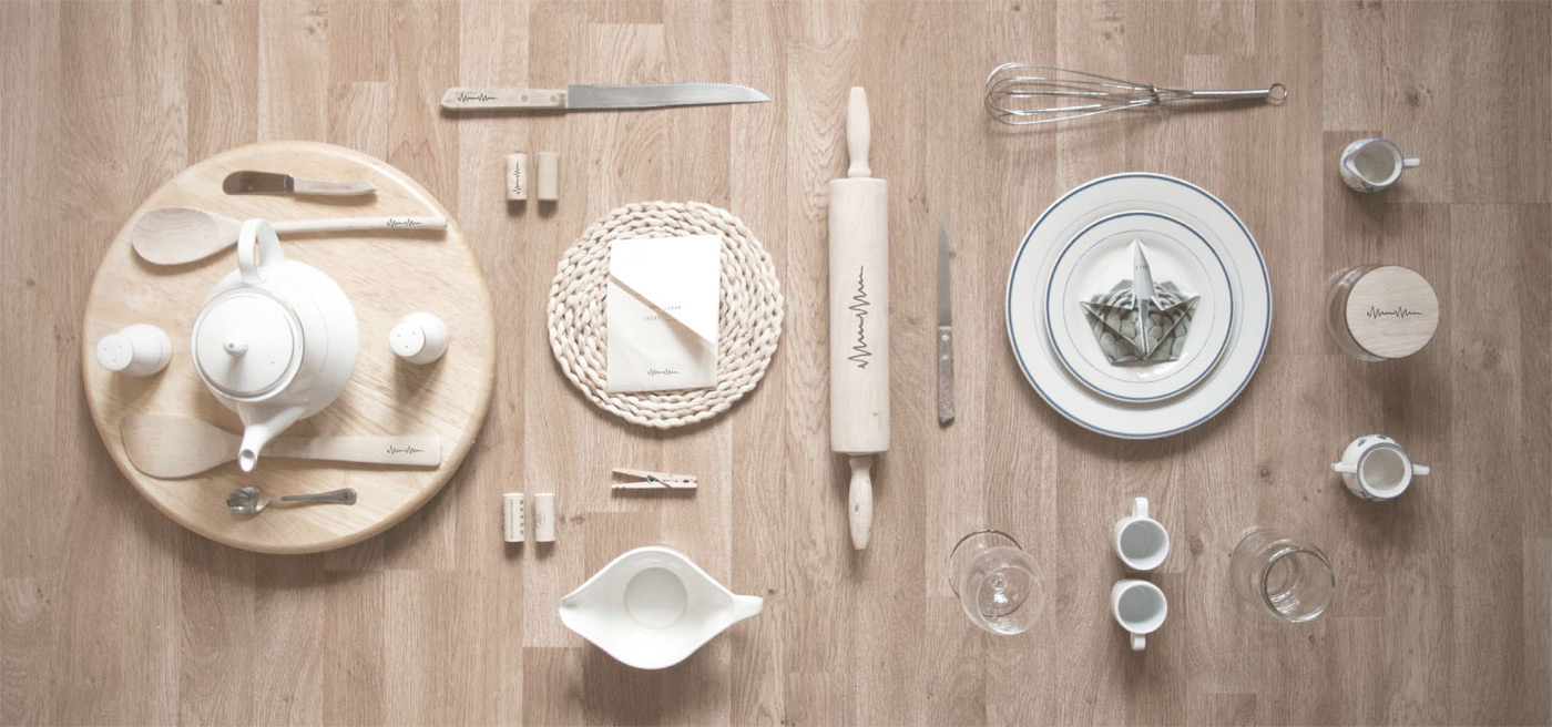 A table setting with Murmur branded elements
