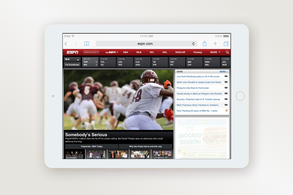 ESPN mobile screenshot - home