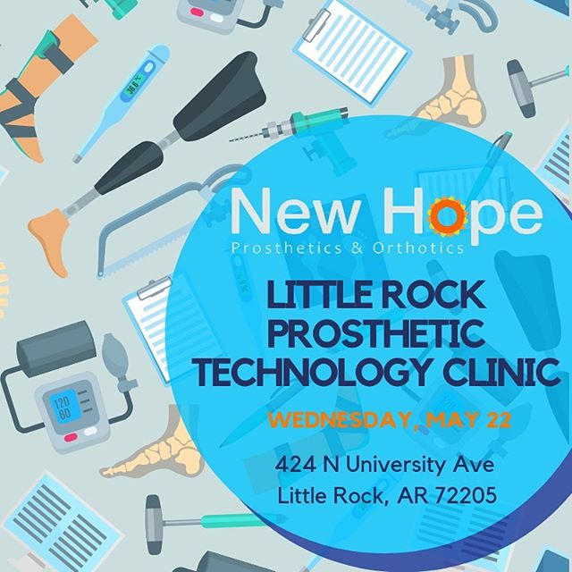 Come join us for the Little Rock Prosthetic Technology Clinic! There will be food, door prizes, + of course your New Hope family! Call and make your appointment today, you don't want to miss this! (501)-661-9048