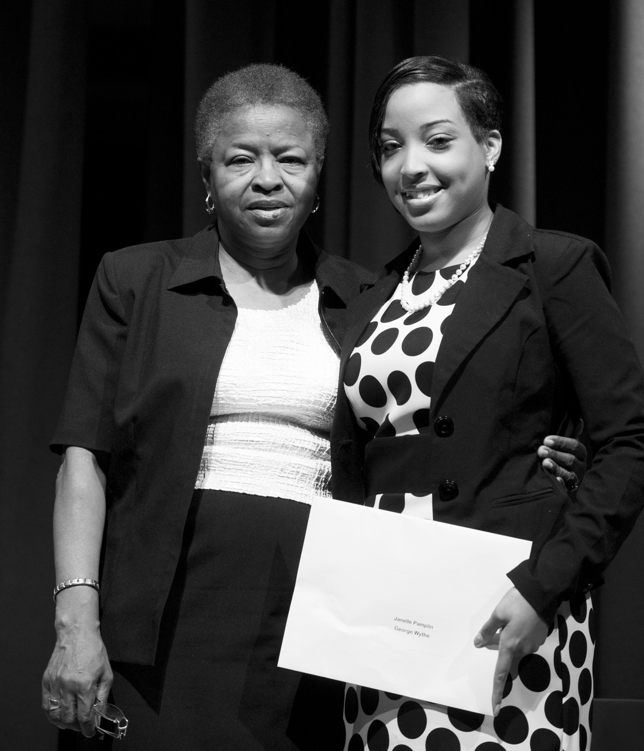 George Wythe 2012 scholarship winner, Janelle Pamplin, with her GRASP advisor, Phenie Golatt.