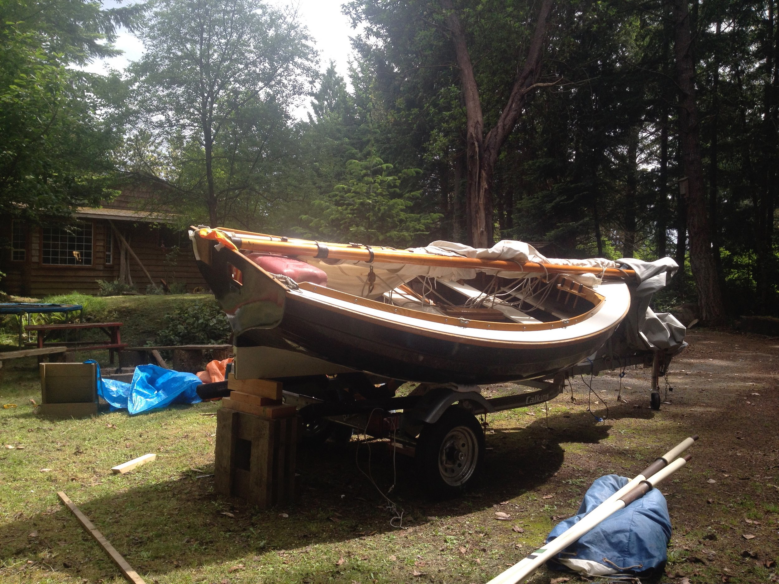My boat, Golden Eye, in preparation for getting to the water (2014)
