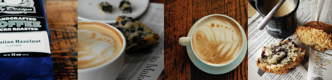 latte art and blueberry muffin at Little Dog Coffee Shop