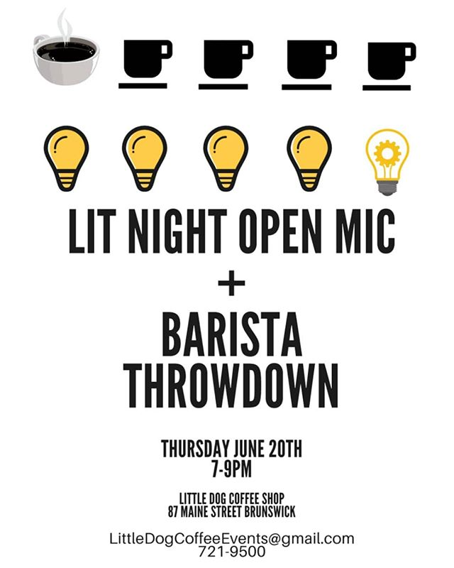 Tomorrow! Little Dog is hosting a barista throwdown during our weekly open mic night! We'll have teams of baristas from area coffee shops working behind the bar to serve up their best beverages as quickly as they can between open mic sets. If you've been wanting to check out our open mic night, THIS is the week to do so! Open until 9:00 ☕🐾