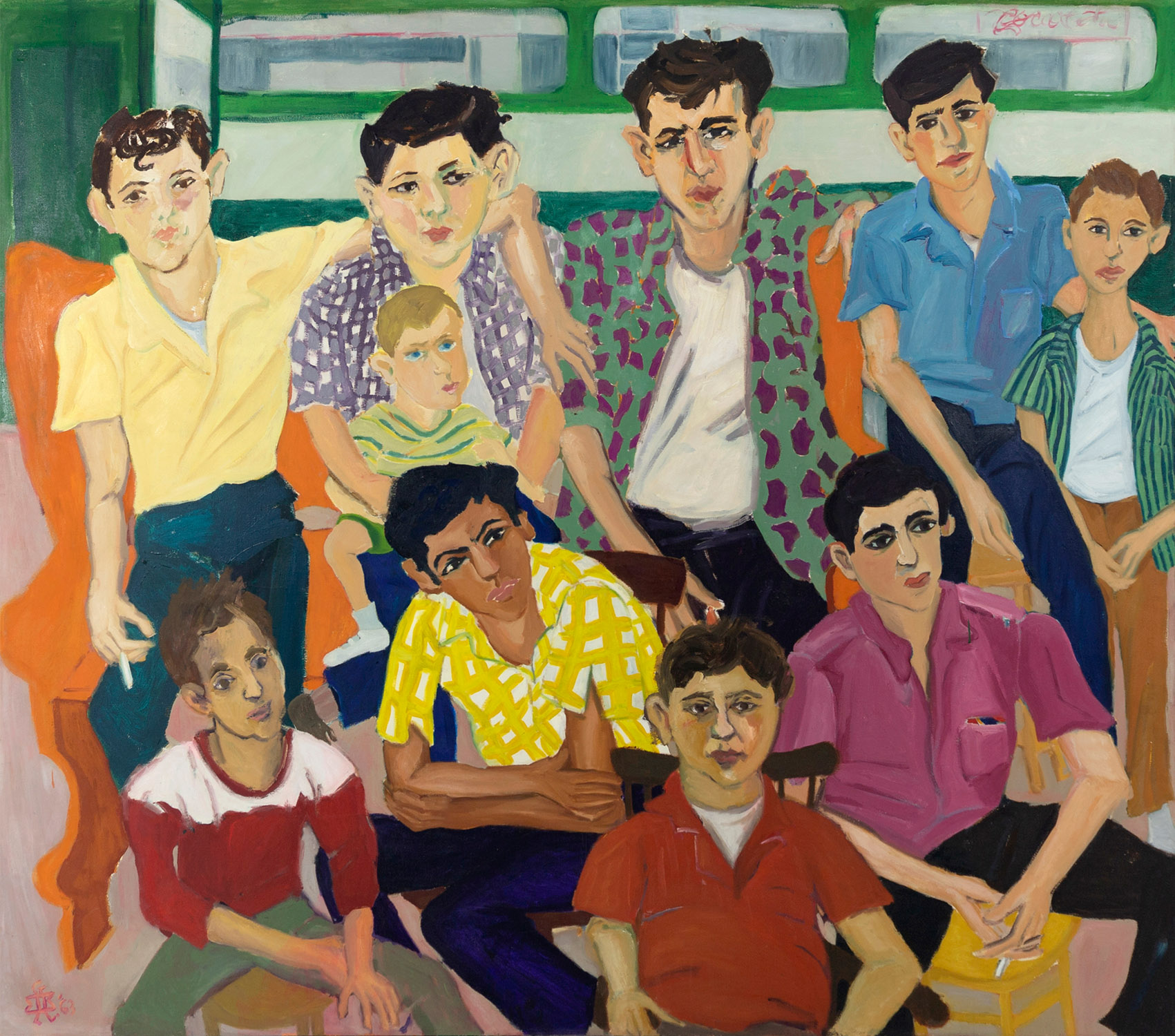 Mimi Gross, Grand Street Boys, 1963, oil on canvas, 60 x 70 1/8 inches