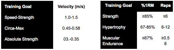 On the left, Bryan Mann's velocity training zones. On the right, commonly used PBT zones