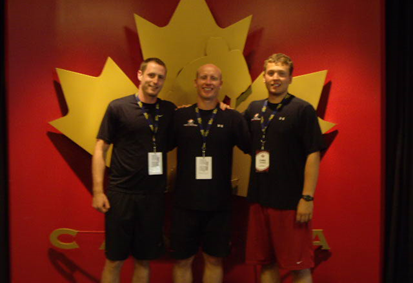 Steve Lidstone with young students Brandon Sferrazza and Chris Chapman at a Hockey Canada Training Camp