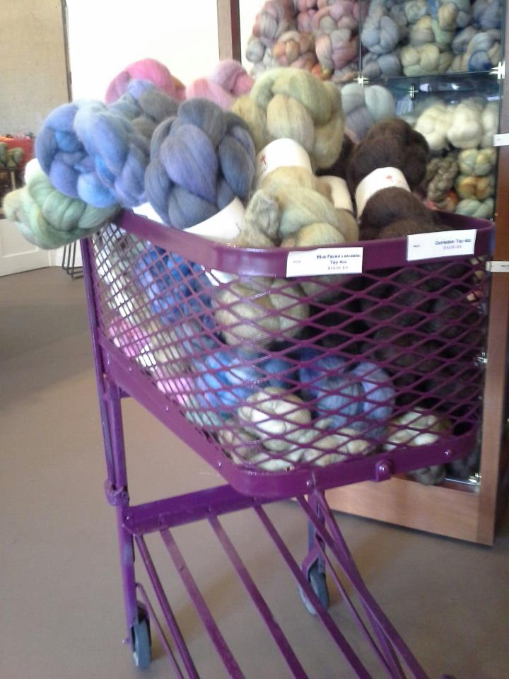 Lots of fibers, dyed or natural.