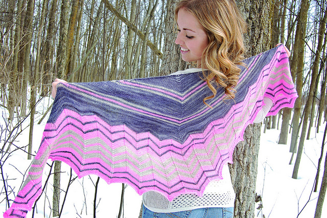 Glacier Point  by Irish Girlie Knits, shown in Charcoal, Taffy, and Seaside.