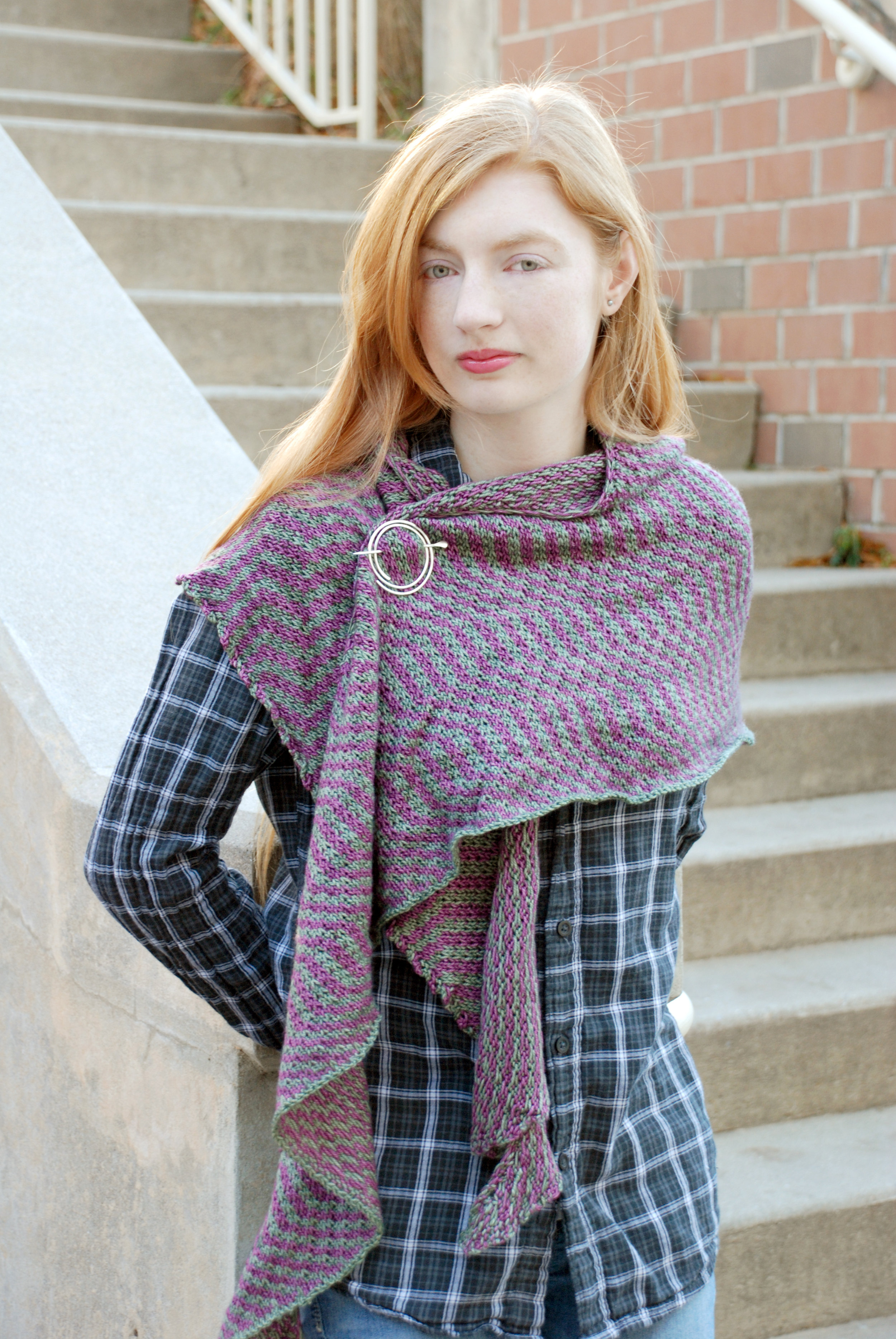 Zagless, knit in Squishy, shown in Aspen and Prudence.