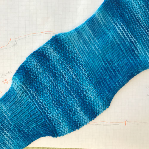 Stitches used from left to right; 1x1 rib, seed stitch, stockinette, garter.