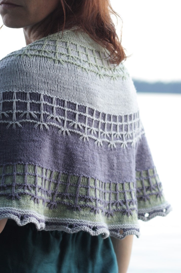 Fissure knit with Anzula Gerty in colorways Victoria, Gravity, and Herb.