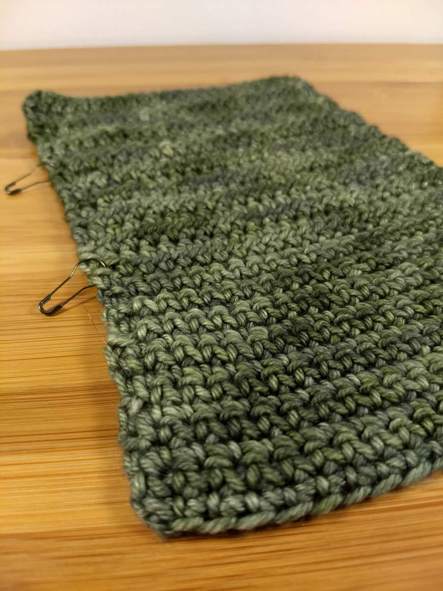 A swatch of For Better or Worsted beginning with single crochet and progressing through half-double and double crochet.