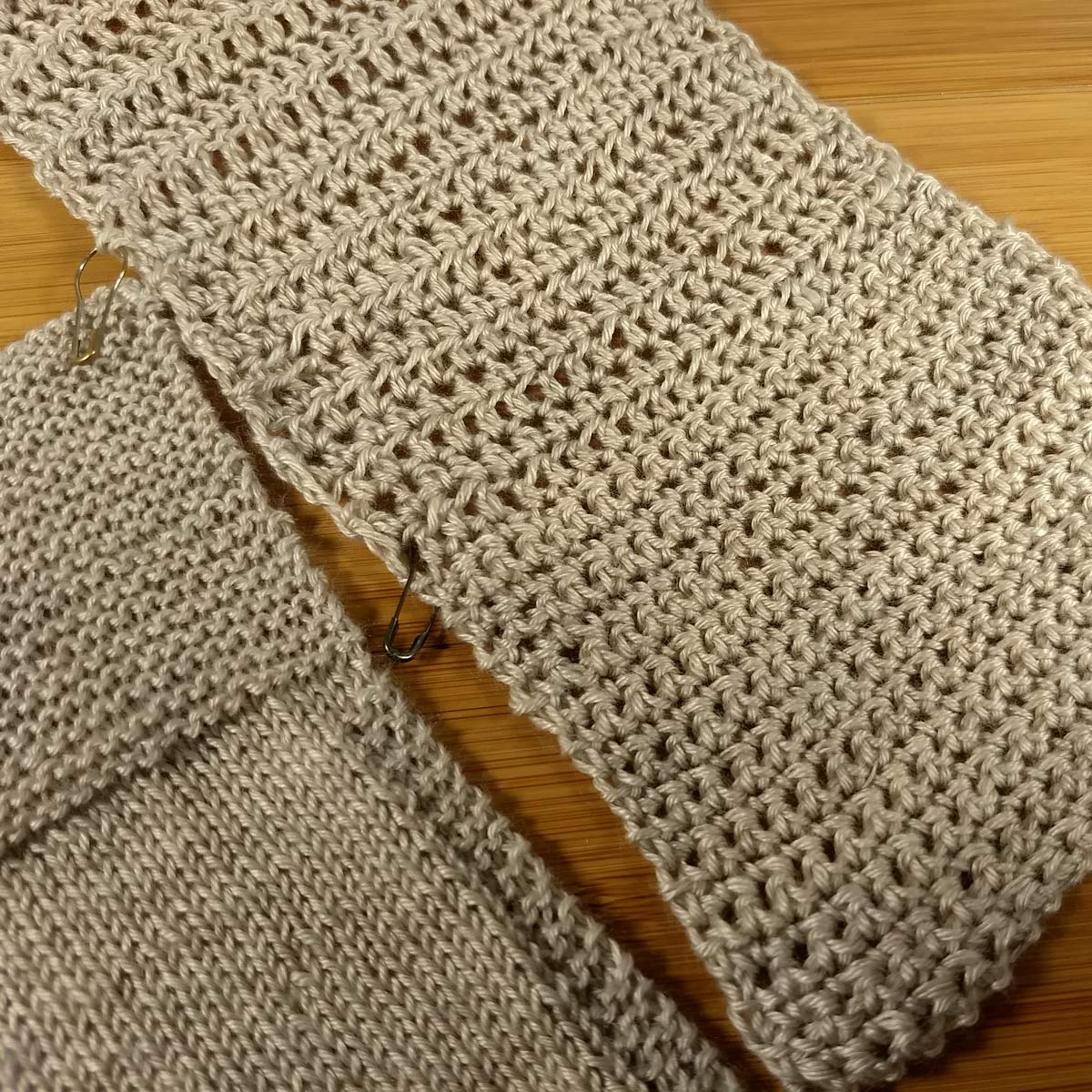 Knit and crochet swatches of Milky Way in simple stitches: stockinette, garter stitch, single, half-double, and double crochet.