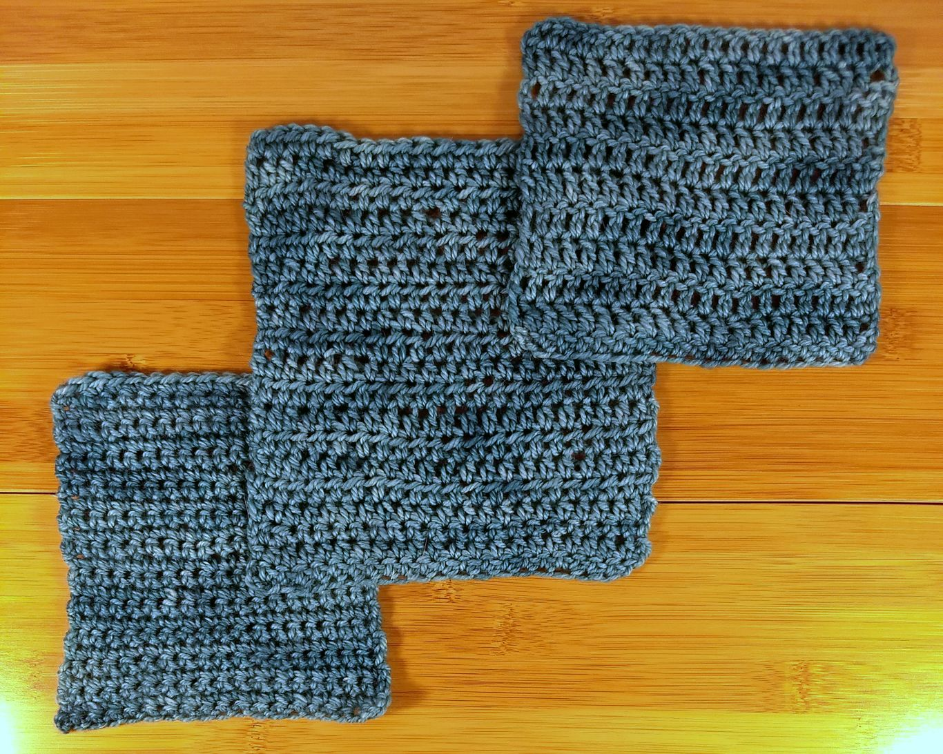 Crocheted Anzula Squishy swatches in SC, HDC, and DC.