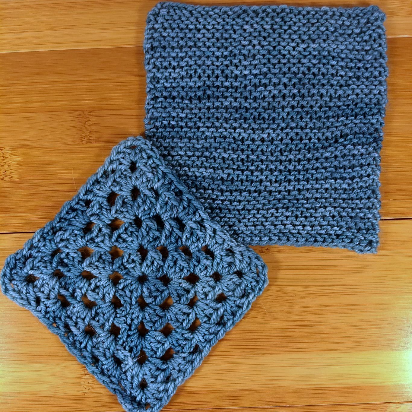 Squishy swatches, a granny square next to garter stitch.