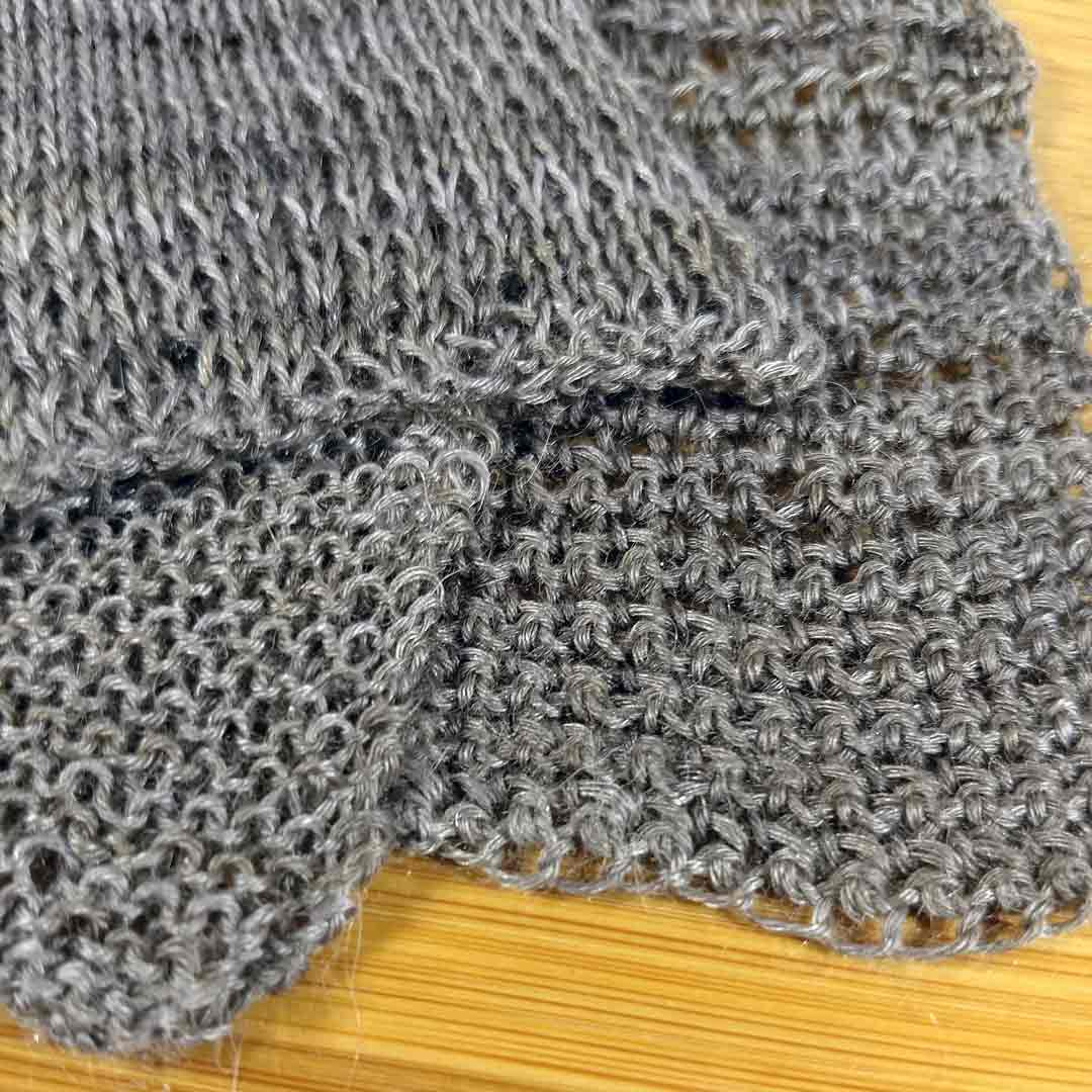 Meridian swatches, knit and crochet