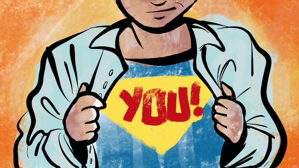 "Image of a person unbuttoning a collared shirt that reveals the message ""YOU!"" underneath, reminiscent of Superman."