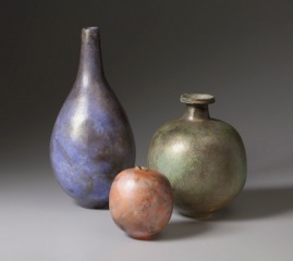 Hand built, pit fired pots by Jim Lux.