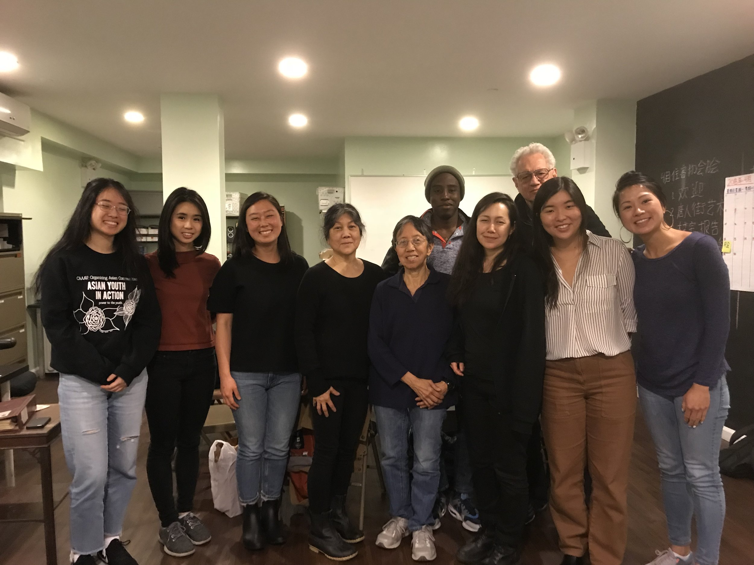 Members of CAAAV and CAB meet with civil rights labor organizer Eric Mann, Director of the Labor Community Strategy Center in LA